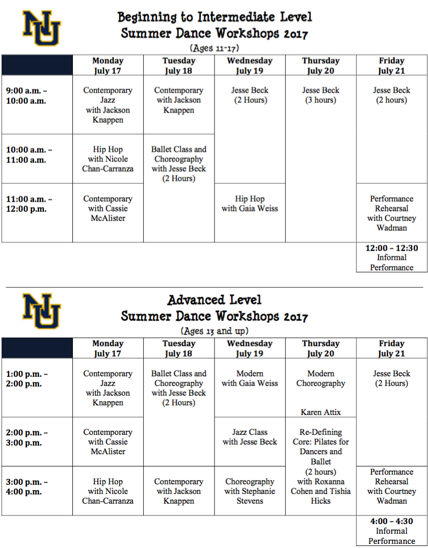 summer workshops schedule